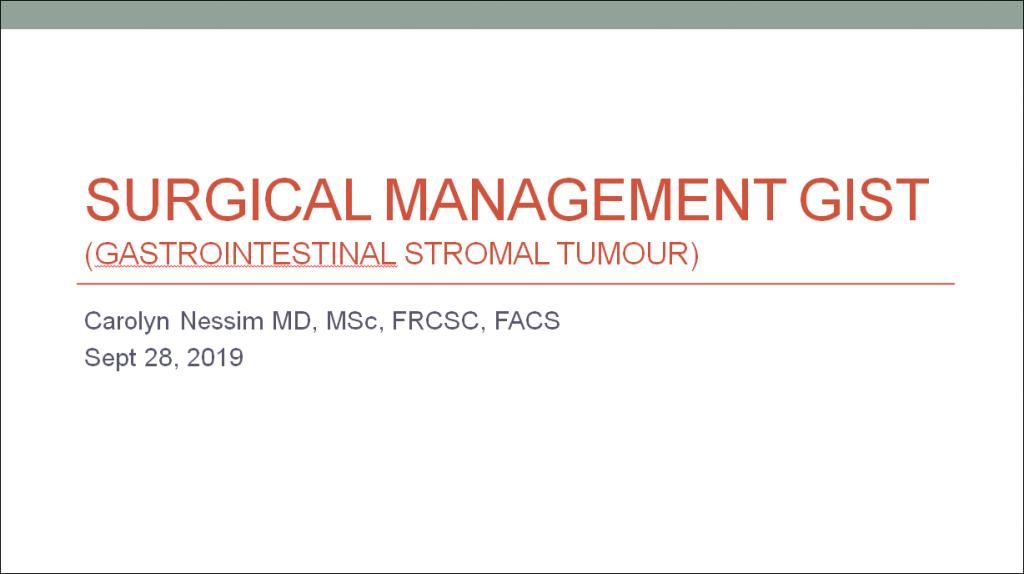 Title Slide - Surgical Management of GIST